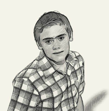 overly: Sketch Teen boy body language expressions - Staring Overly Fixated