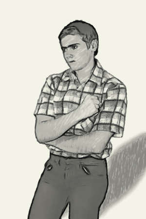 perturbed: Sketch Teen boy body language expressions - Clinched Fists Frustrated Stock Photo