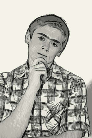 teenaged boys: Sketch Teen boy body language expressions - Holding Chin Thinking