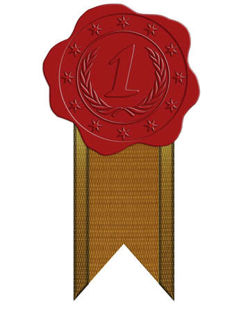 wax glossy: First Place Red Wax Seal with Star and Laurel plus Ribbon Stock Photo