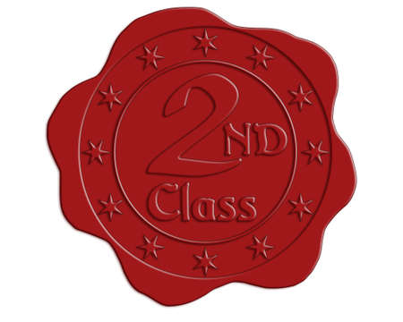 wax glossy: Second Class Red Wax Seal with Stars