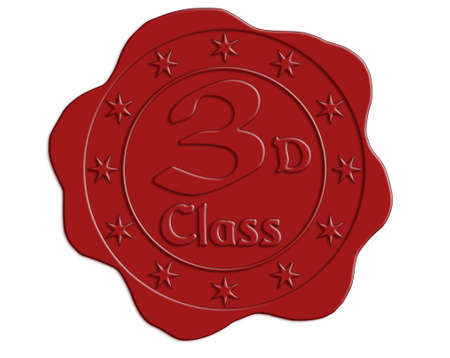 wax glossy: Third Class Red Wax Seal with Stars