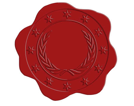 wax glossy: Vector Red Wax Seal with Star and Laurel Border and Open Center