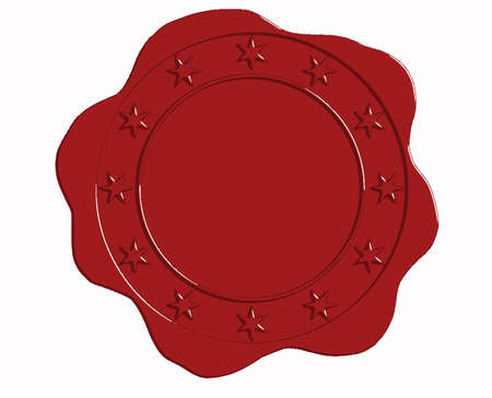 wax glossy: Vector Red Wax Seal with Star Border and Open Center