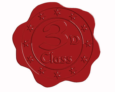 wax glossy: Vector Third Class Red Wax Seal with Stars