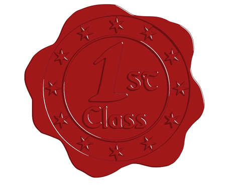 first class: Vector First Class Red Wax Seal with Stars