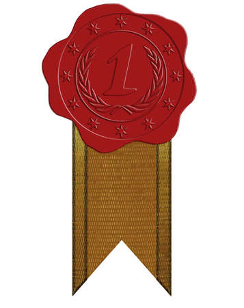 wax glossy: Vector First Place Red Wax Seal with Star and Laurel plus Ribbon
