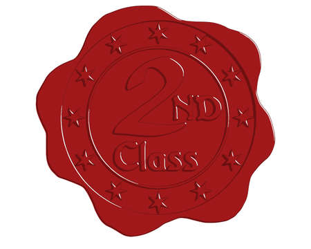 wax glossy: Vector Second Class Red Wax Seal with Stars Illustration