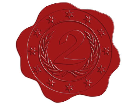 wax glossy: Vector Second Place Red Wax Seal with Stars and Laurel Border Illustration
