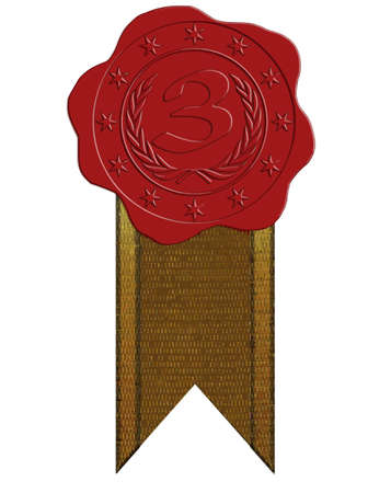 wax glossy: Vector Third Place Red Wax Seal with Stars and Laurel plus Ribbon Illustration