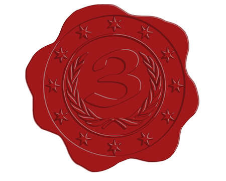 wax glossy: Vector Third Place Red Wax Seal with Stars and Laurel Border