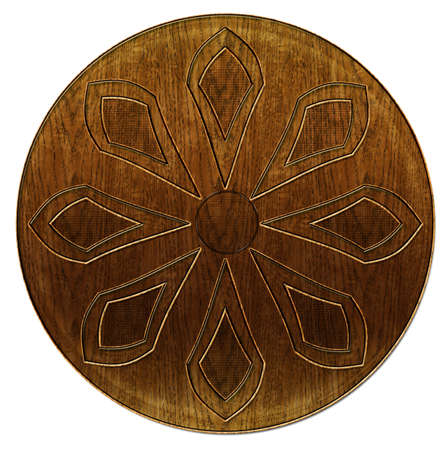 wood carving 3d: 3D Wood Etched Abstract Flower Nature Button Motif Stock Photo
