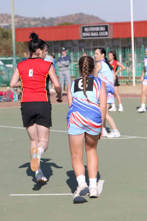 rustenburg: RUSTENBURG, SOUTH AFRICA - June 6:  Korfball League games played at Olympia Park on June 6, 2015 in Rustenburg South Africa.  Ladies team:  Girls ready for start trow. Editorial