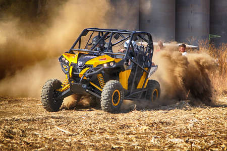 seater: BRITS, SOUTH AFRICA - July 11:  Africa-Offroad Racing Rally,  on July 11, 2015 at Koster, North West Province, South Africa.  HD - Custom twin seater rally buggy kicking up trail of dust on sand track during rally race.