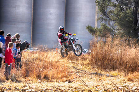 off ramp: KOSTER, SOUTH AFRICA - July 11:  Africa-Offroad Racing Rally,  on July 11, 2015 at Koster, North West Province, South Africa.  HD - Motorbike ramping track during rally race.