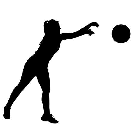 Black on white silhouette of korfball ladies league player girl throwing ball