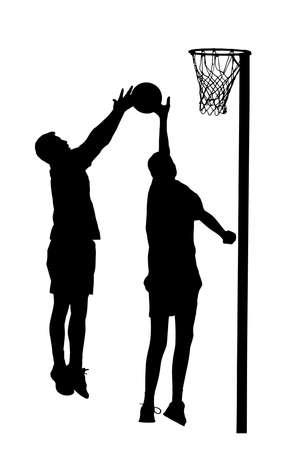 goal: Black on white silhouette of korfball mens league player attempting goal throw Illustration