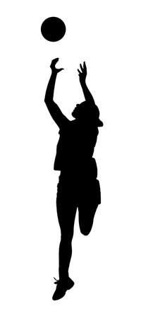 コーフボール レディース リーグ プレーヤー女の子キャッチ ボールの白いシルエットに黒  イラスト・ベクター素材
