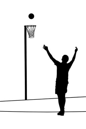 throw up: Black on white silhouette of korfball mens league player attempting goal throw Illustration
