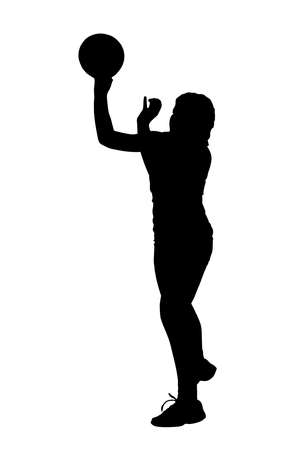 atma: Black on white silhouette of korfball ladies league player girl throwing ball