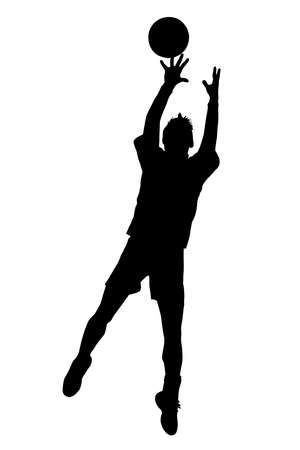 Black on white silhouette of korfball men's league  jumping to catch ball