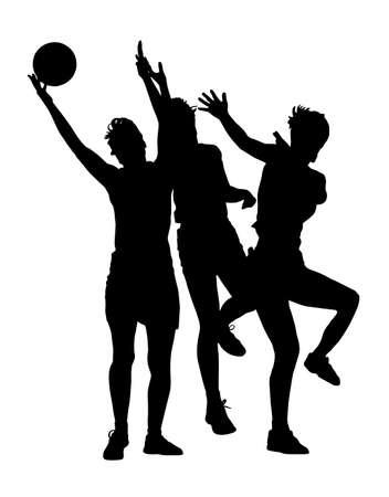 Schwarz auf weißem Silhouette der korfball Damen Ligaspieler Mädchen fangen Ball Standard-Bild - 48188500