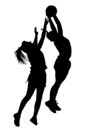 female hand: Black on white silhouette of korfball ladies league players girl catching ball