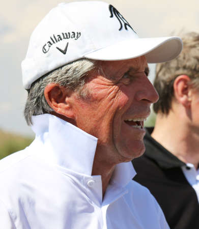 80 year old: PLAYER, GARY - NOVEMBER 15: Tournament presenter and grand master Gary Player Playing at Gary Player Charity Invitational Golf Tournament cracking some jokes after the event on November 15, 2015, Sun City, South Africa. Editorial