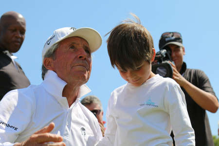 grand son: PLAYER, GARY - NOVEMBER 15: Tournament presenter and grand master Gary Player Playing at Gary Player Charity Invitational Golf Tournament with grandson, son of Mark Player, after the event on November 15, 2015, Sun City, South Africa.
