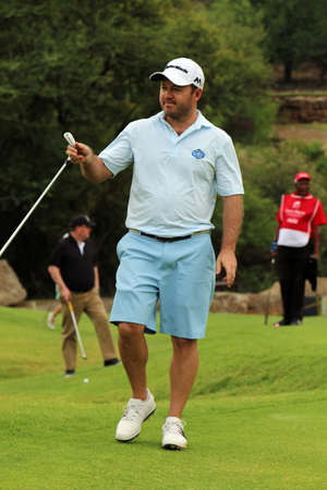80th: STERNE, RICHARD - NOVEMBER 15: Pro Golfer Playing at Gary Player Charity Invitational Golf Tournament finished his put on November 15, 2015, Sun City, South Africa.