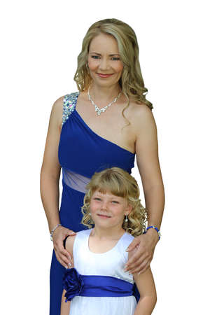 formal dress: Lovely mom and daughter in formal dress isolated Stock Photo