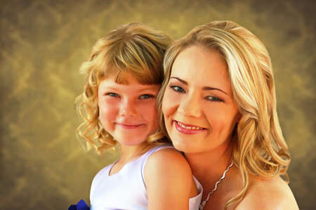 alike: Lovely blond mom and daughter painting Stock Photo