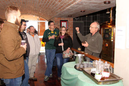 hobs: Kroondal, South Africa– JULY 25: North West Winter Craft Beer Festival held at Brauhaus am Damm, July 25, 2015. Manager Walter Stallmann explaining process to tour group. Editorial