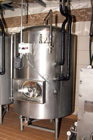 hobs: Kroondal, South Africa– JULY 25: North West Winter Craft Beer Festival held at Brauhaus am Damm, July 25, 2015. Modern craft beer stainless steel conditioning tanks.