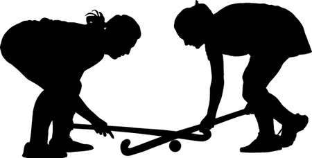 hockey players: Black on white silhouette of girl ladies hockey players locked in battle for ball