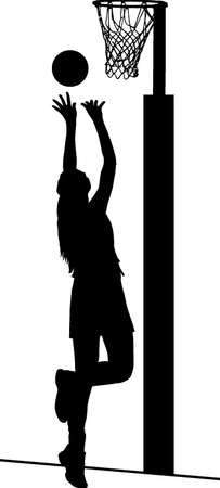 possession: Black on white silhouette of girls ladies netball player shooting for goal