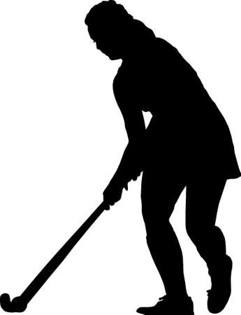 prepare: Black on white silhouette of standing girl ladies hockey player prepare to hit balll Illustration