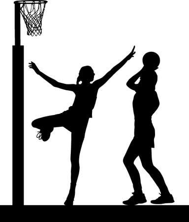 Zwart op wit silhouet van meisjes dames netball spelers springen en het blokkeren van het doel