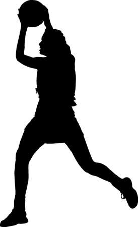 throwing ball: Black on Silhouette of girls ladies netball player catching throwing ball Illustration