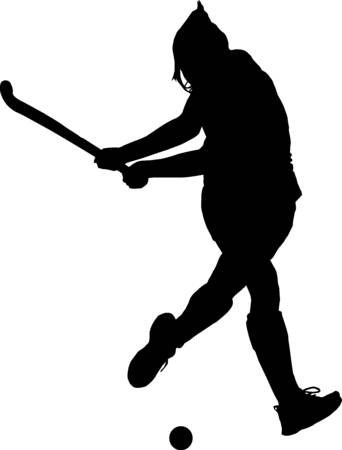Black on white silhouette of girl ladies hockey player hitting ball