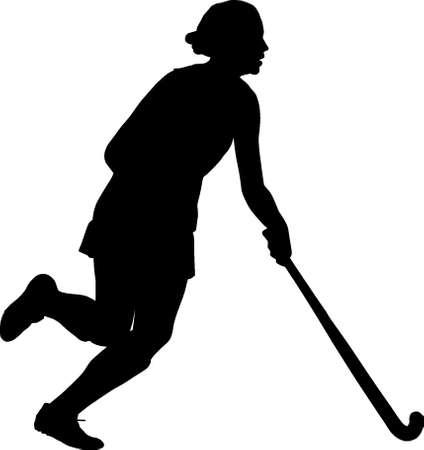 dribbling: Black on white silhouette of girl ladies hockey player dribbling  ball