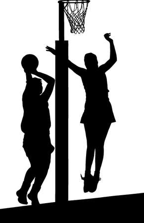 possession: Black on white silhouette of girls ladies netball players jumping and blocking goal