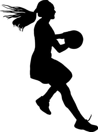 possession: Black on silhouette of girls ladies netball player running with ball