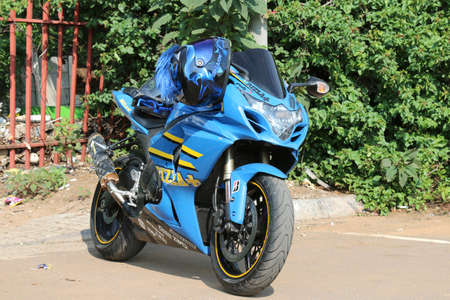 Rustenburg, South Africa - March 3, 2017: Parked blue 1000cc motorbike at Yearly Mass Ride of Tainted Souls Motorbike Club, Rustenburg, South Africa.