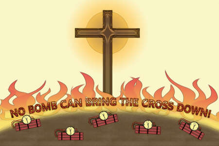 genocide: No bomb can bring The Cross down illustration