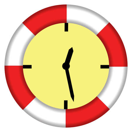work less: Illustrating the expression - saving time with lifebuoy and clock