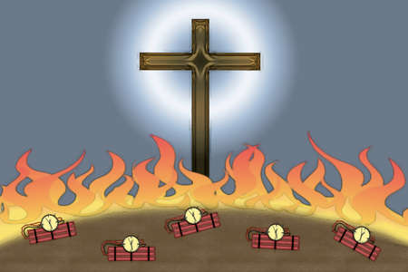 Attack on Christianity flames and bombs at the foot of Christian Cross Stock Photo