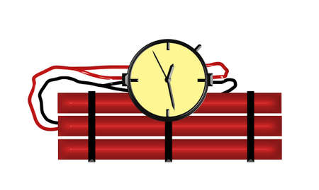 Red Candle Stick Dynamite Bomb Illustration with Clock Timer