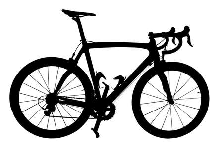 spokes: A Professional Road Racing Bicycle Silhouette Isolation Stock Photo