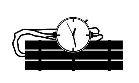 sabotage: Black and White Candle Stick Dynamite Bomb Illustration with Clock Timer